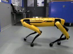 ドアを開けられる犬型ロボットが開けられないロボットを助ける