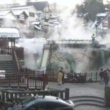 草津温泉「湯畑」湯滝前からのYOUTUBEライブ映像