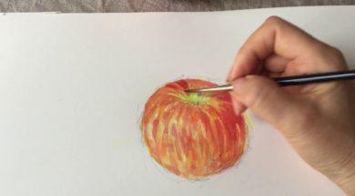 りんごの描き方 水彩やApple pencilで絵画を。