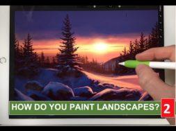 美しい日没の雪景色をiPadとApple pencilで描こう!