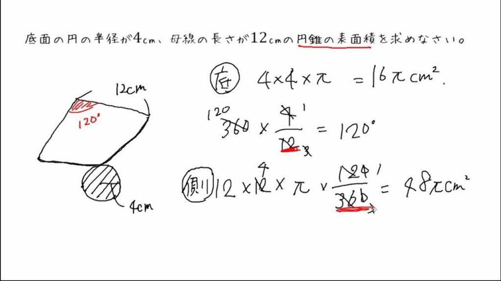 表面積 円錐 求め 方 の の