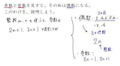 【中2数学 01-10】文字式による証明②奇数と偶数