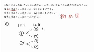 【中2数学 10-4】コインの確率(樹形図のかき方)