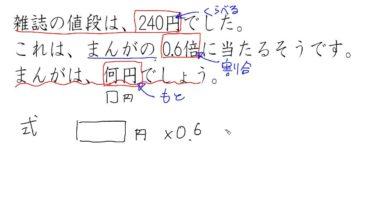 【小学校5年算数 9-6】もとにする数を求める問題①
