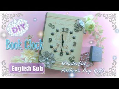 【父の日の贈り物】ダイソーの本型ボックスで作る・簡単オシャレな置時計
