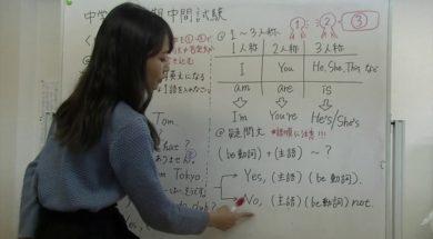 中1英語 1学期中間テスト対策 be動詞