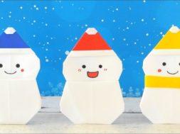【クリスマス・冬】折り紙1枚で雪だるま【作り方】- origami – christmas –