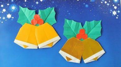折り紙で作るクリスマスベルかざり
