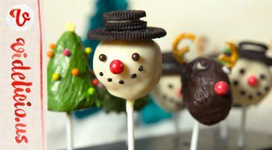 【カップケーキで作る】クリスマスにぴったりのかわいいケーキポップ【オーブン不要】