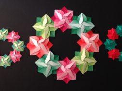 折り紙 クリスマスリース ポインセチアの折り方 Origami Christmas wreath Poinsettia tutorial(niceno1)