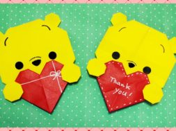 【バレンタイン・折り紙】ハートとプーさん